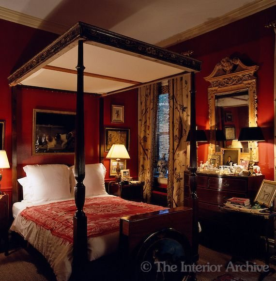 Best Wonderfully Deep Red Bedroom By John Rosselli My Hearts With Pictures