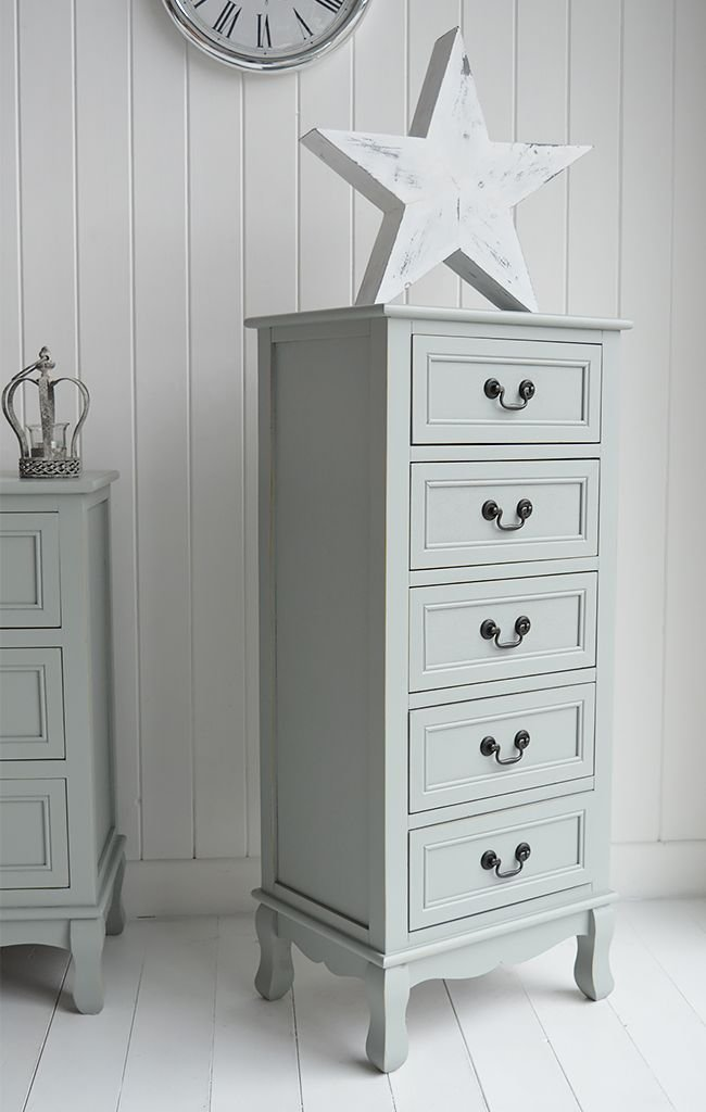 Best Berkeley Tall Narrow Chest Of 5 Drawers Grey Painted With Pictures