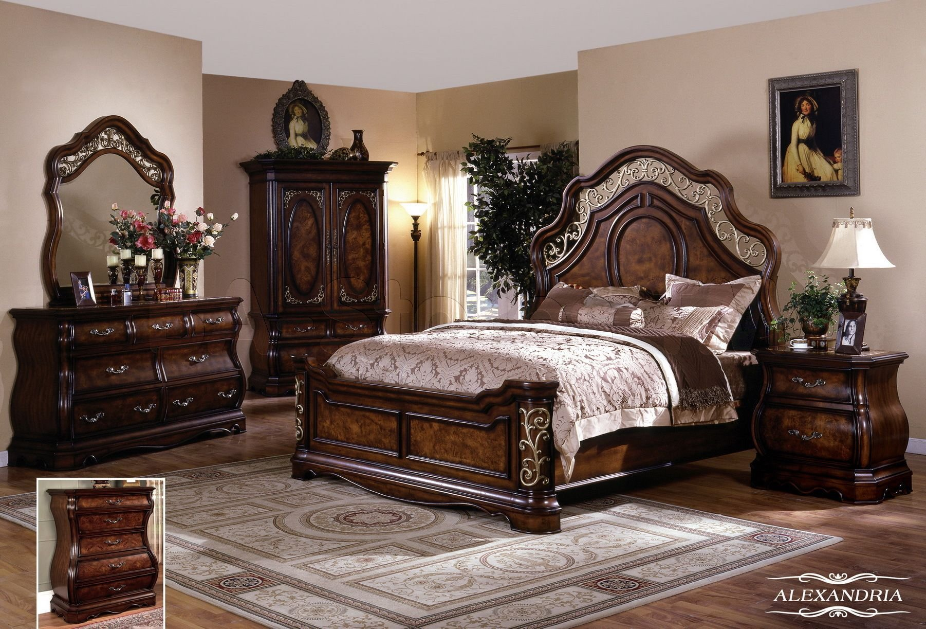 Best Alexandria 5 Pc Bedroom Set Queen Bed Dresser Mirror With Pictures