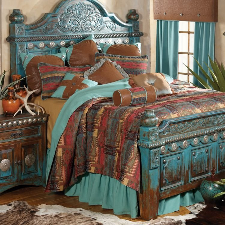 Best Southwestern Distressed Bed And Southwestern Bedroom Decor With Pictures