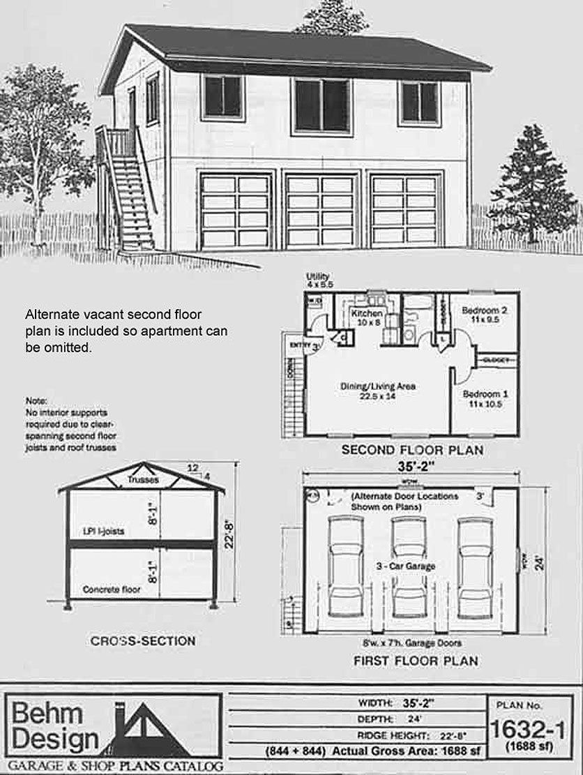 Best Garage Plans Three Car Two Story Garage With 2 Bedroom With Pictures