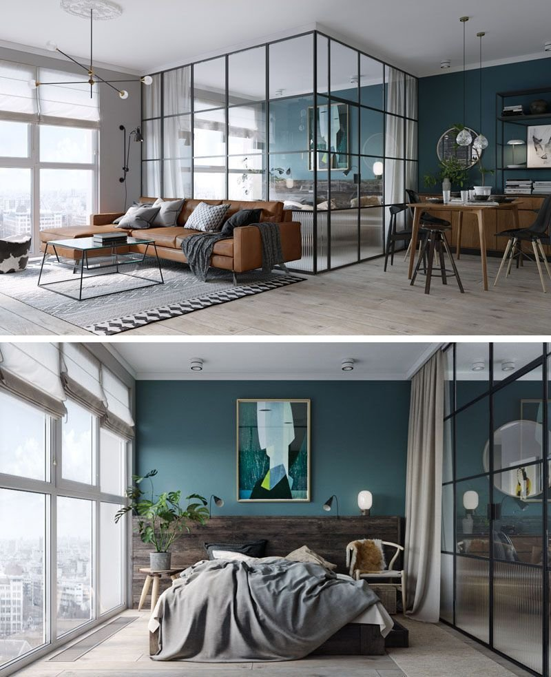 Best Black Framed Glass Walls Separate The Bedroom In This Kiev With Pictures