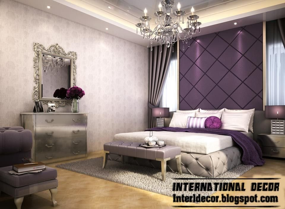 Best Contemporary Bedroom Design And Purple Wall Decoration With Pictures