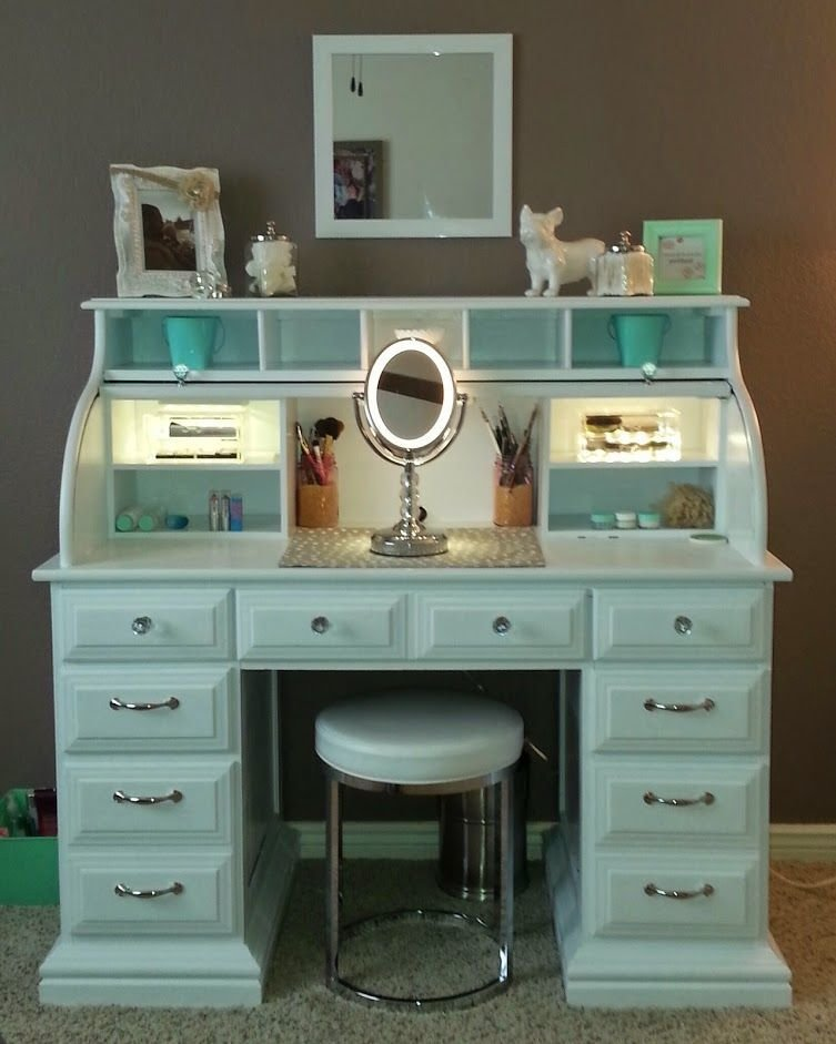 Best Roll Top Desk Makeover By Chelsea Lloyd Vanity Makeup With Pictures