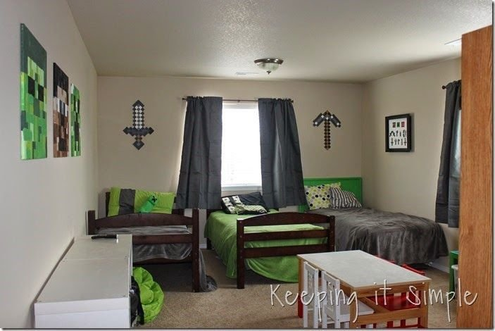 Best Keeping It Simple Minecraft Boy's Room Décor Idea Large Wood Minecraft Characters Mine Craft With Pictures