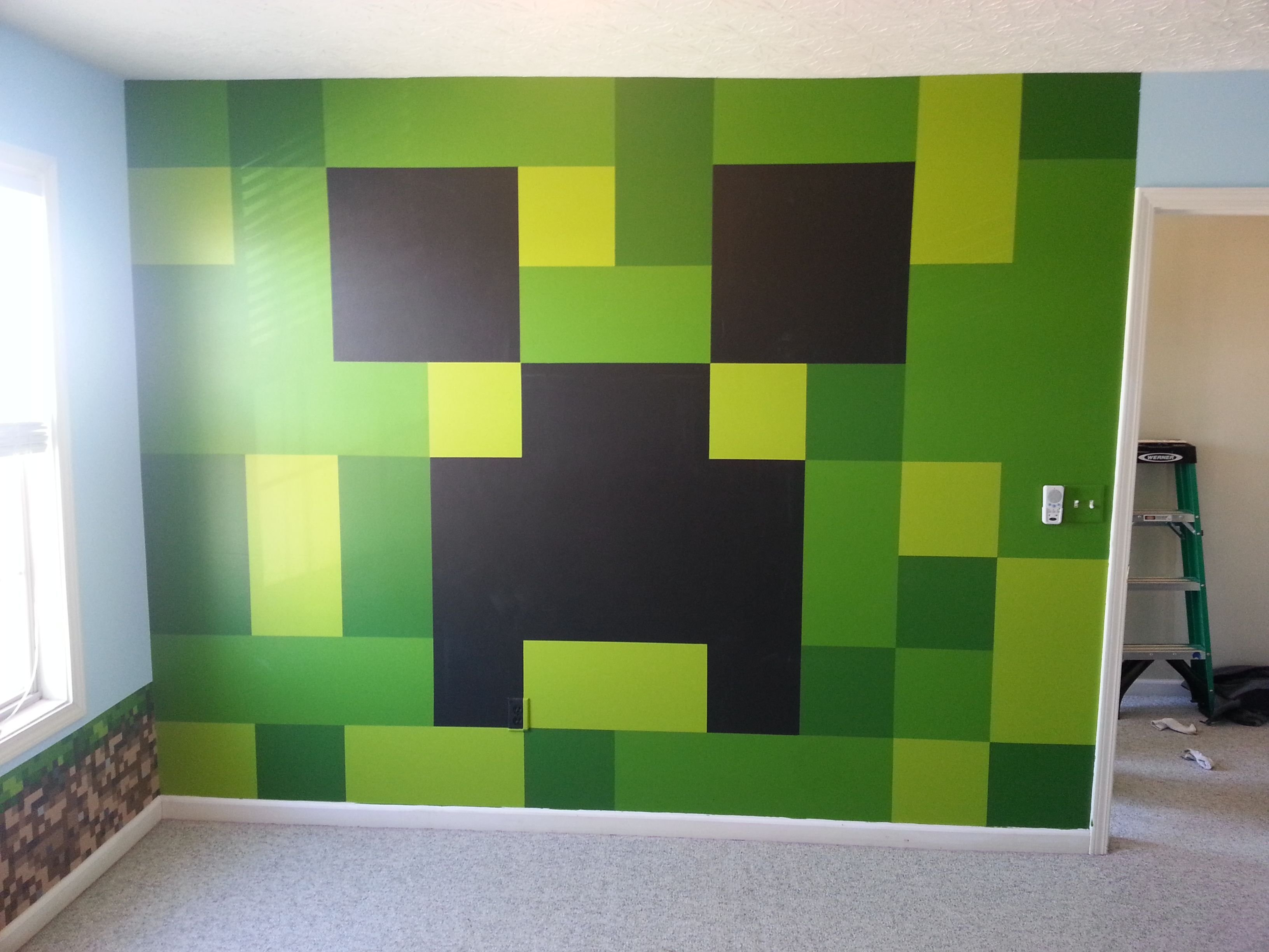Best Minecraft Bedroom Painted Creeper Wall Minecraft With Pictures