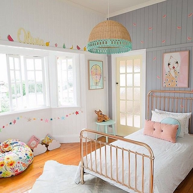 Best Electic Young Girls Room With Retro Colors Petite With Pictures