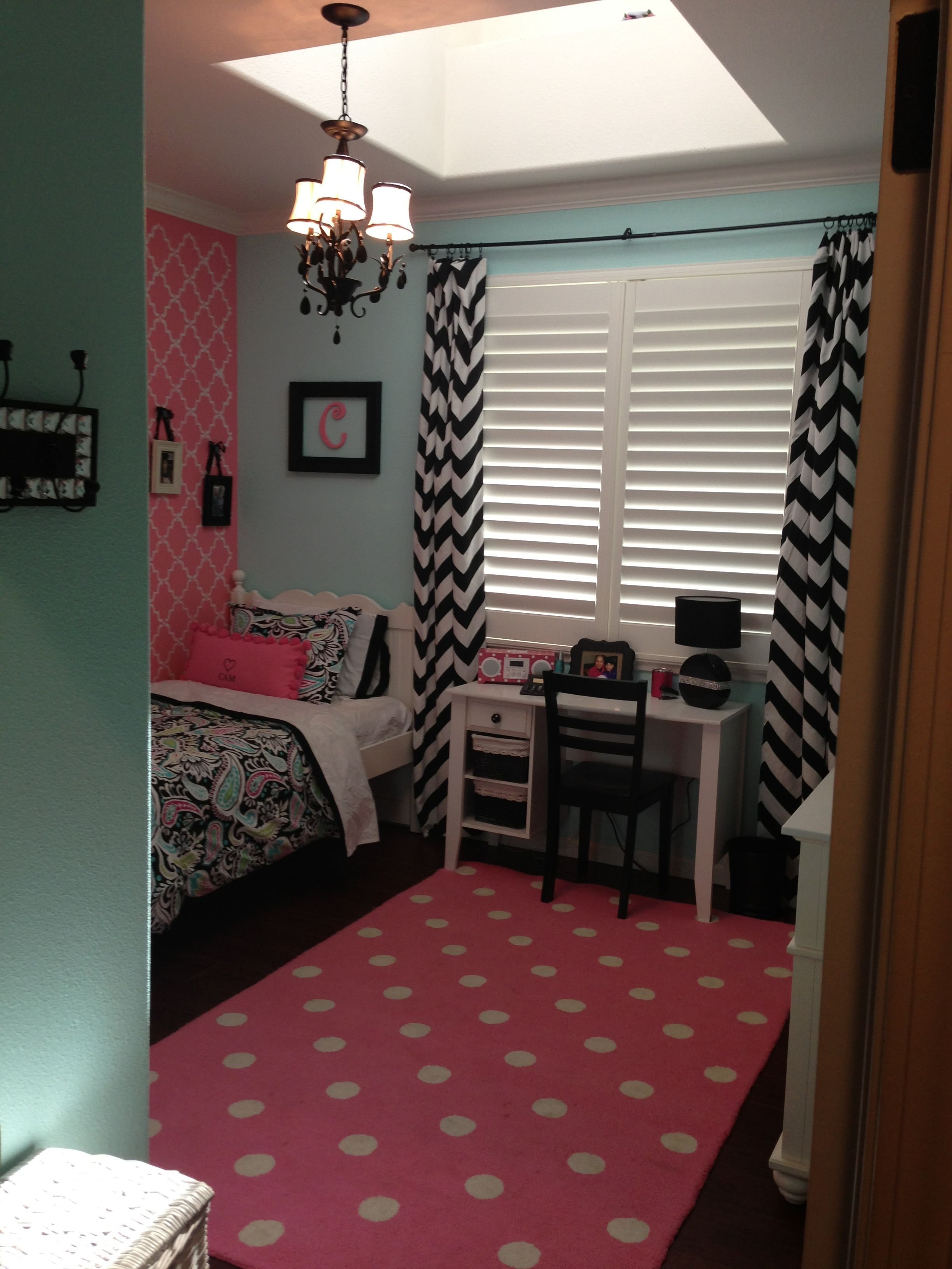 Best Girls Room Chevron Print Polka Dots Black Pink Bedroom With Pictures