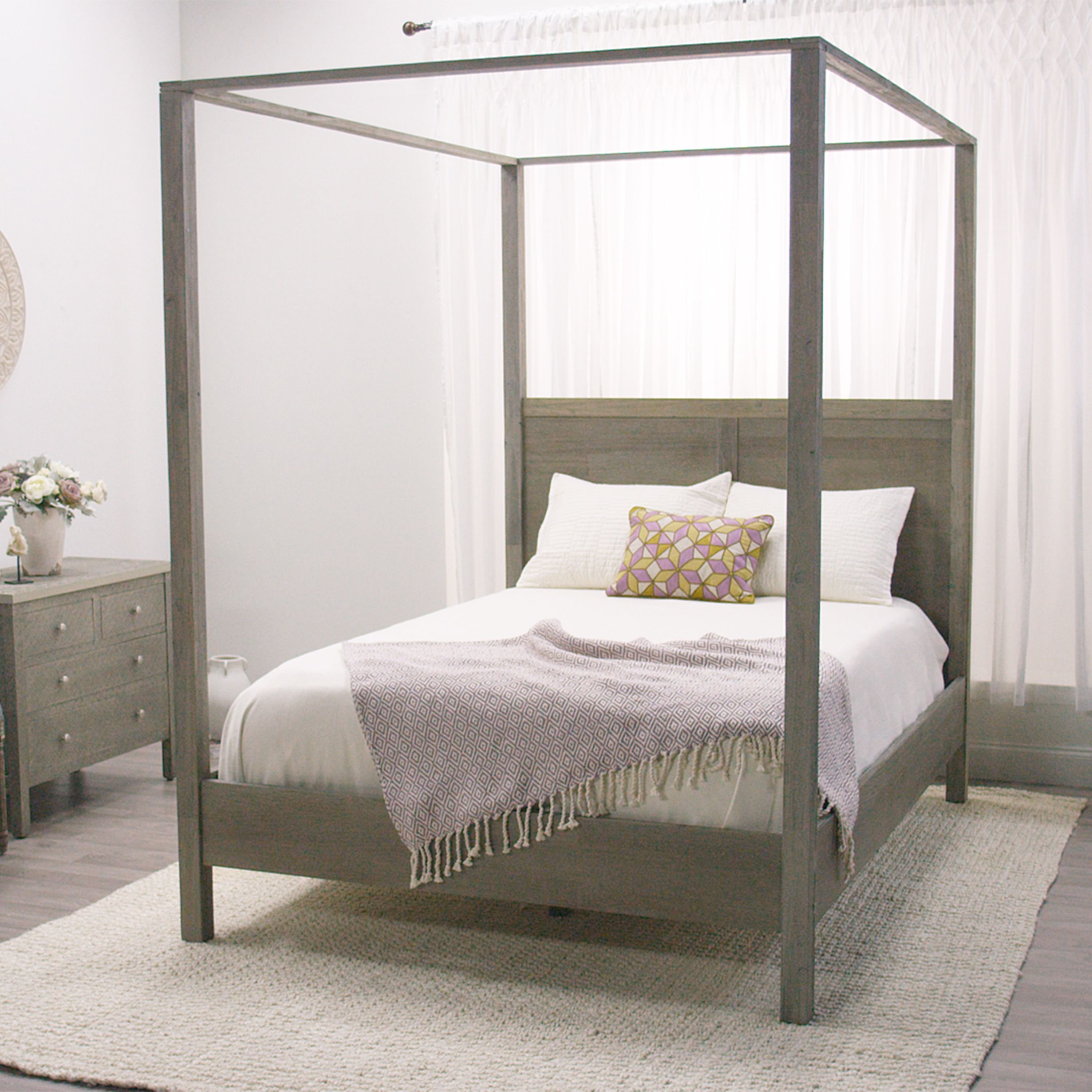 Best Gray Marlon Queen Canopy Bed Rustic Elegance Canopy And With Pictures