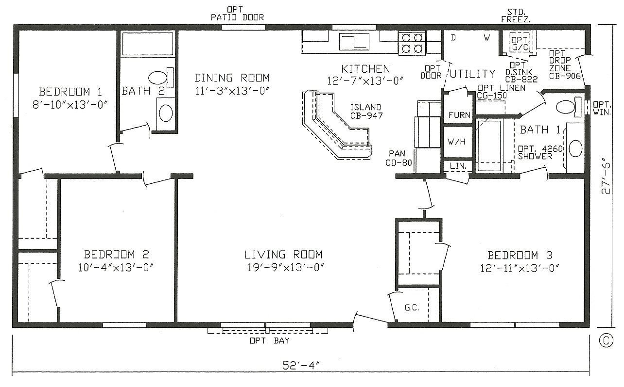 Best Mobile Home Blueprints 3 Bedrooms Single Wide 71 With Pictures
