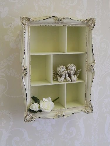 Best Cream Shabby Wall Shelf Unit Distressed Vintage Chic With Pictures