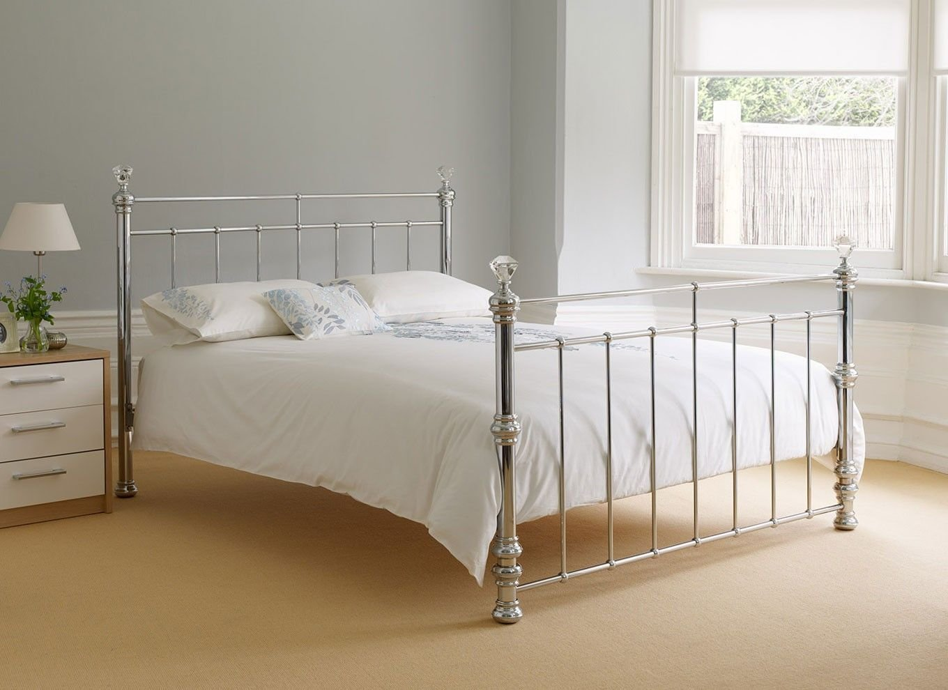 Best Crystal Silver Metal King Size Bed £400 Bedroom With Pictures