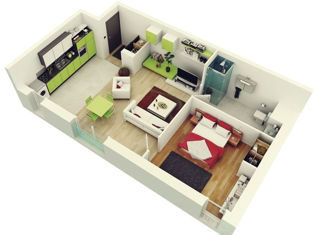 """Best 50 One """"1"""" Bedroom Apartment House Plans Bedroom With Pictures"""