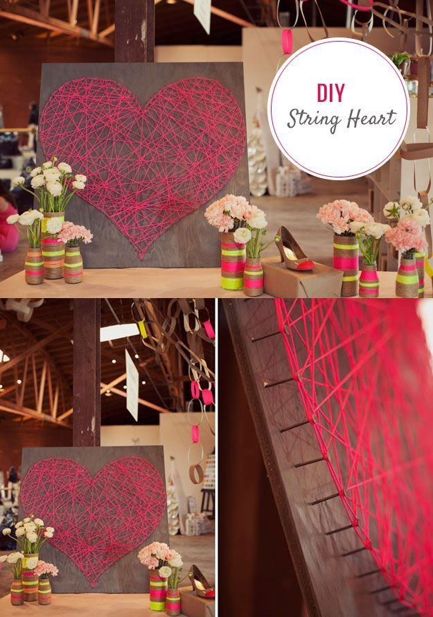 Best Diy String Art Heart Tutorial Cute Diy Bedroom Decor With Pictures
