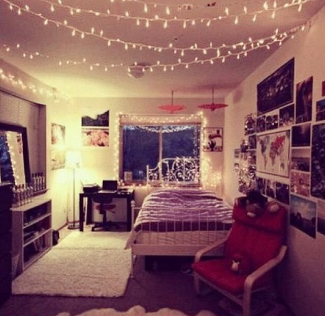 Best Lights Pictures Typical Hipster Bedroom I Love The Lights Hanging From The Ceiling Idea With Pictures