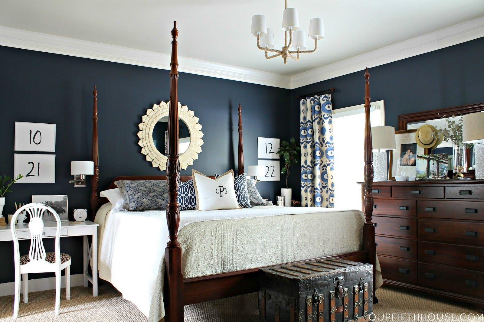Best Love This Master Bedroom The Dark Wood Navy Blue Walls With Pictures