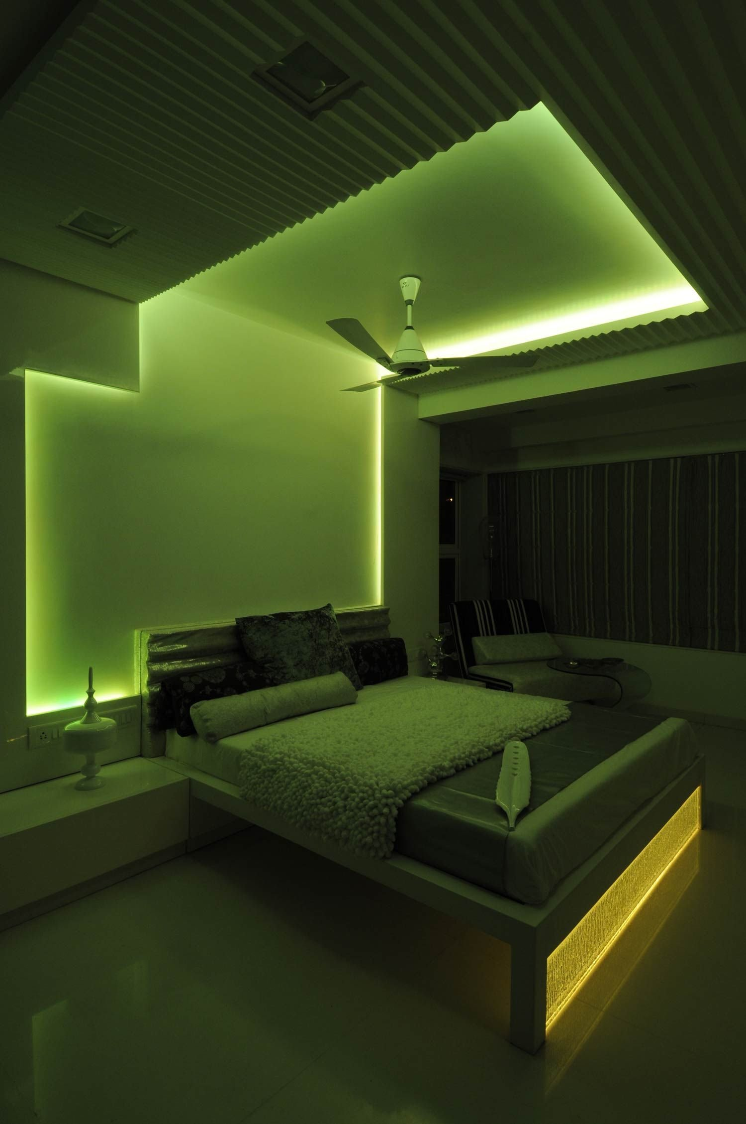 Best Master Bedroom With Green Neon Light Design By Architect Sonali Shah India Master Bedroom With Pictures
