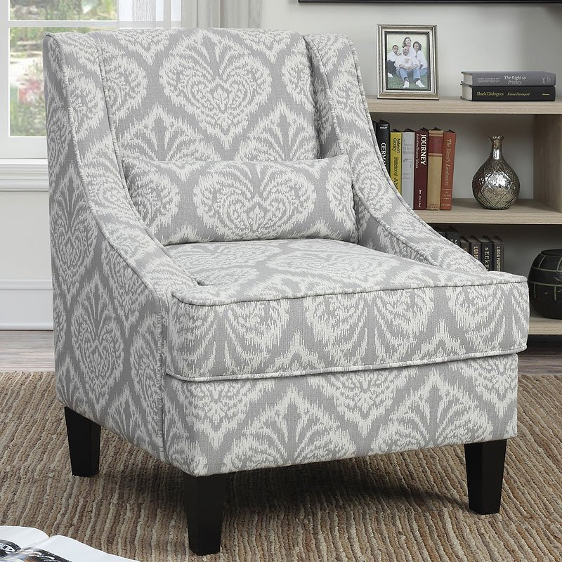 Best Grey And White Pattern Accent Chair Accent Chairs With Pictures