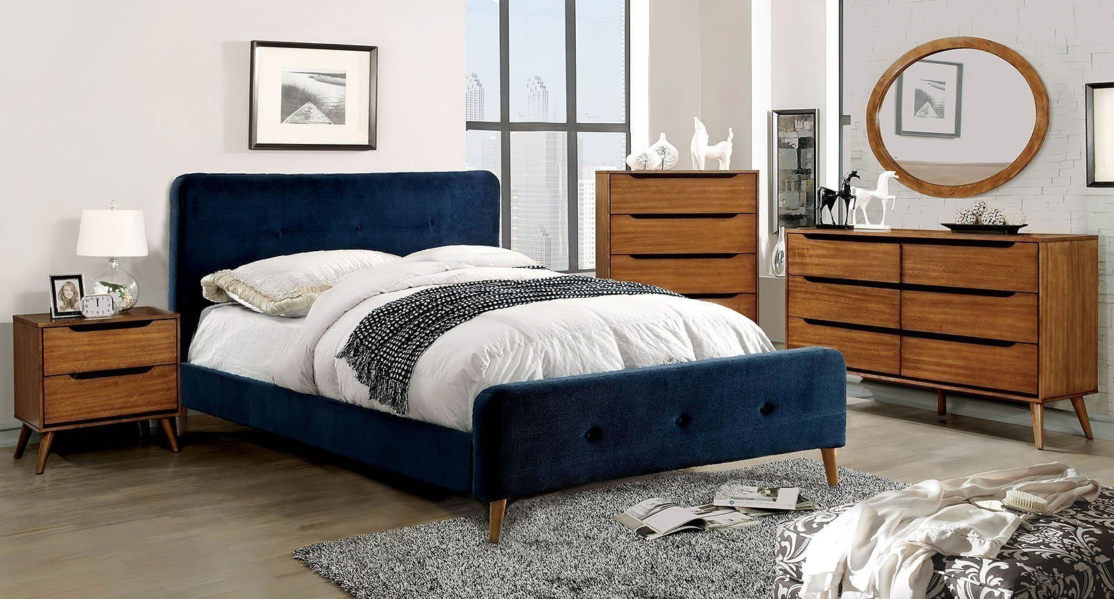 Best Barney Upholstered Bedroom Set Navy By Furniture Of With Pictures