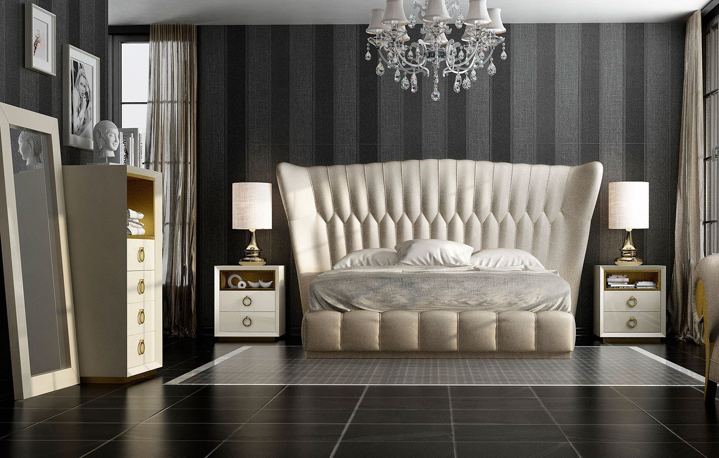 Best Velvet Upholstered Panel Bedroom Set By Esf Furniture With Pictures