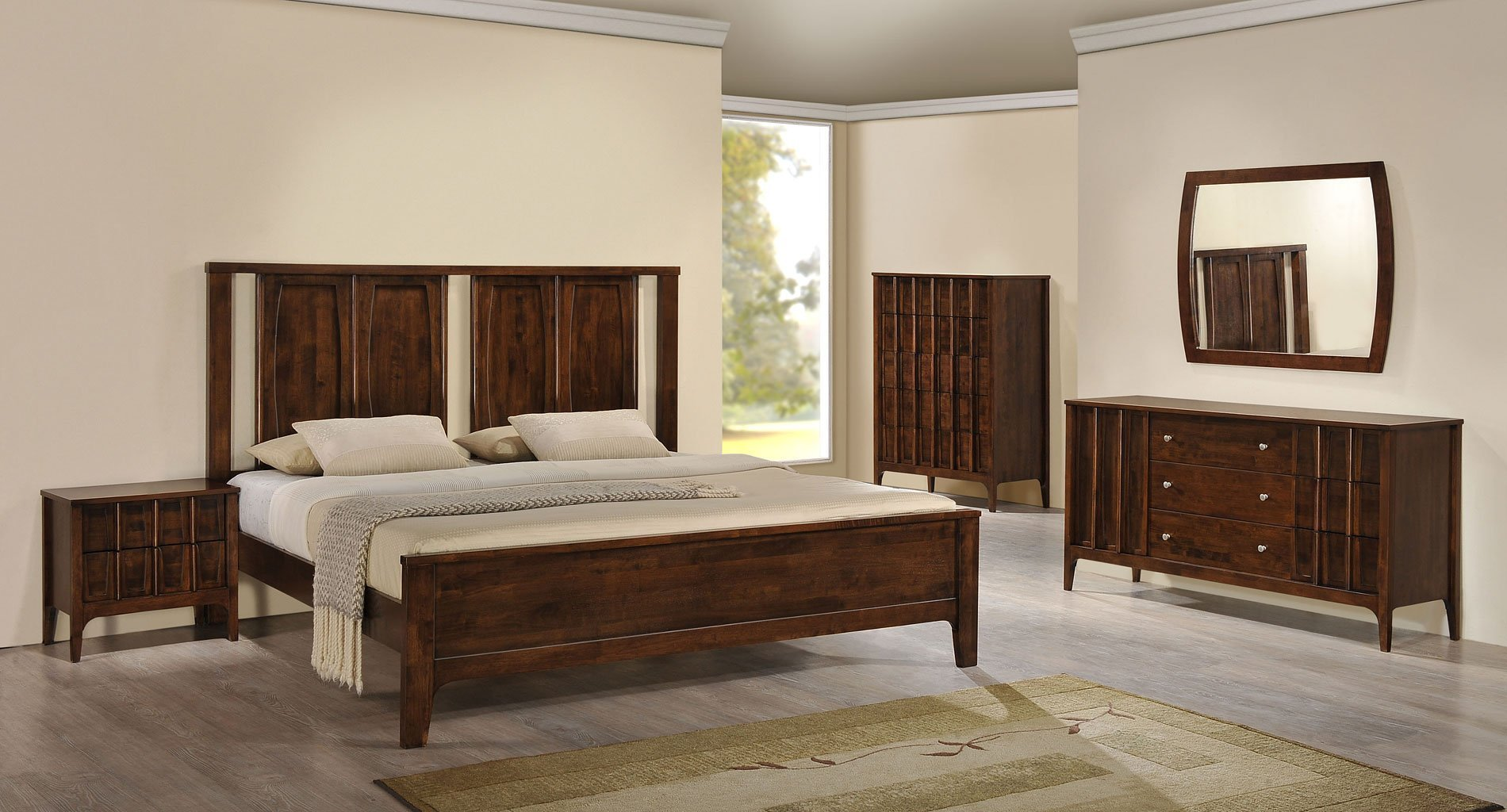 Best Portland Panel Bedroom Set Walnut Zuo Modern Furniture With Pictures