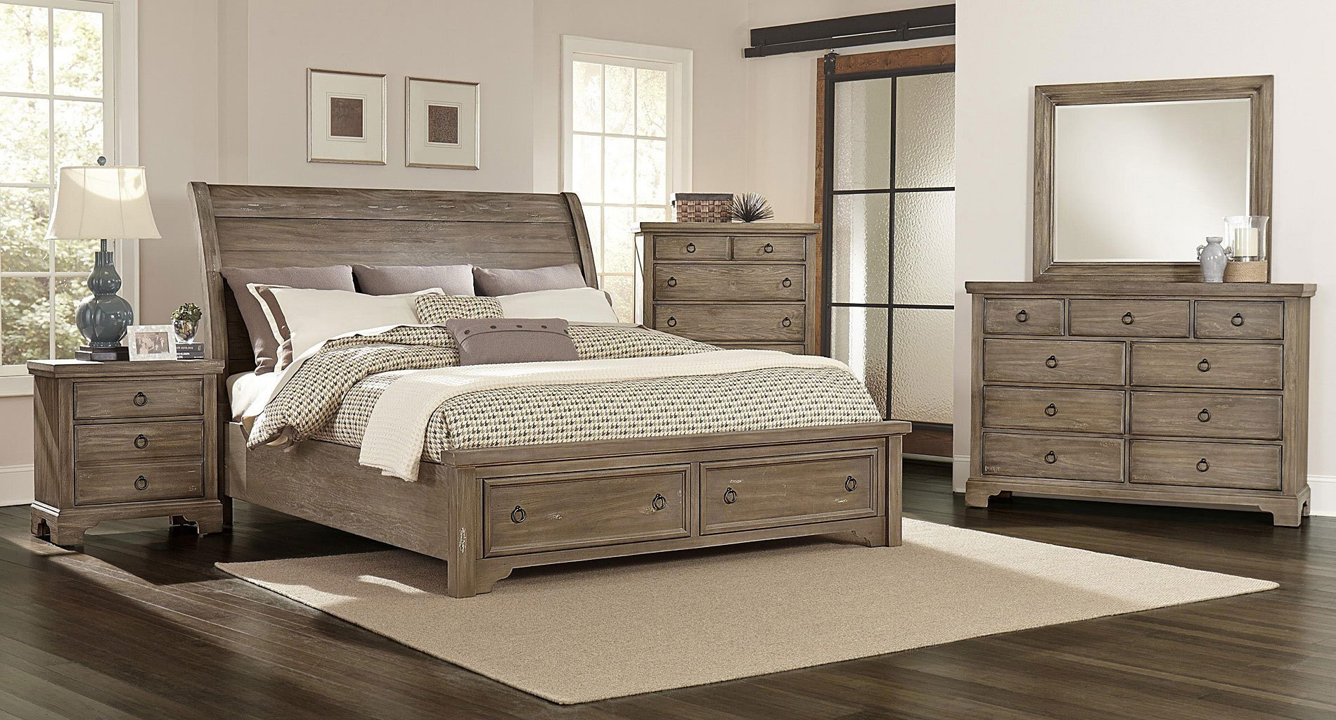 Best Whiskey Barrel Storage Bedroom Set Rustic Gray Vaughan With Pictures