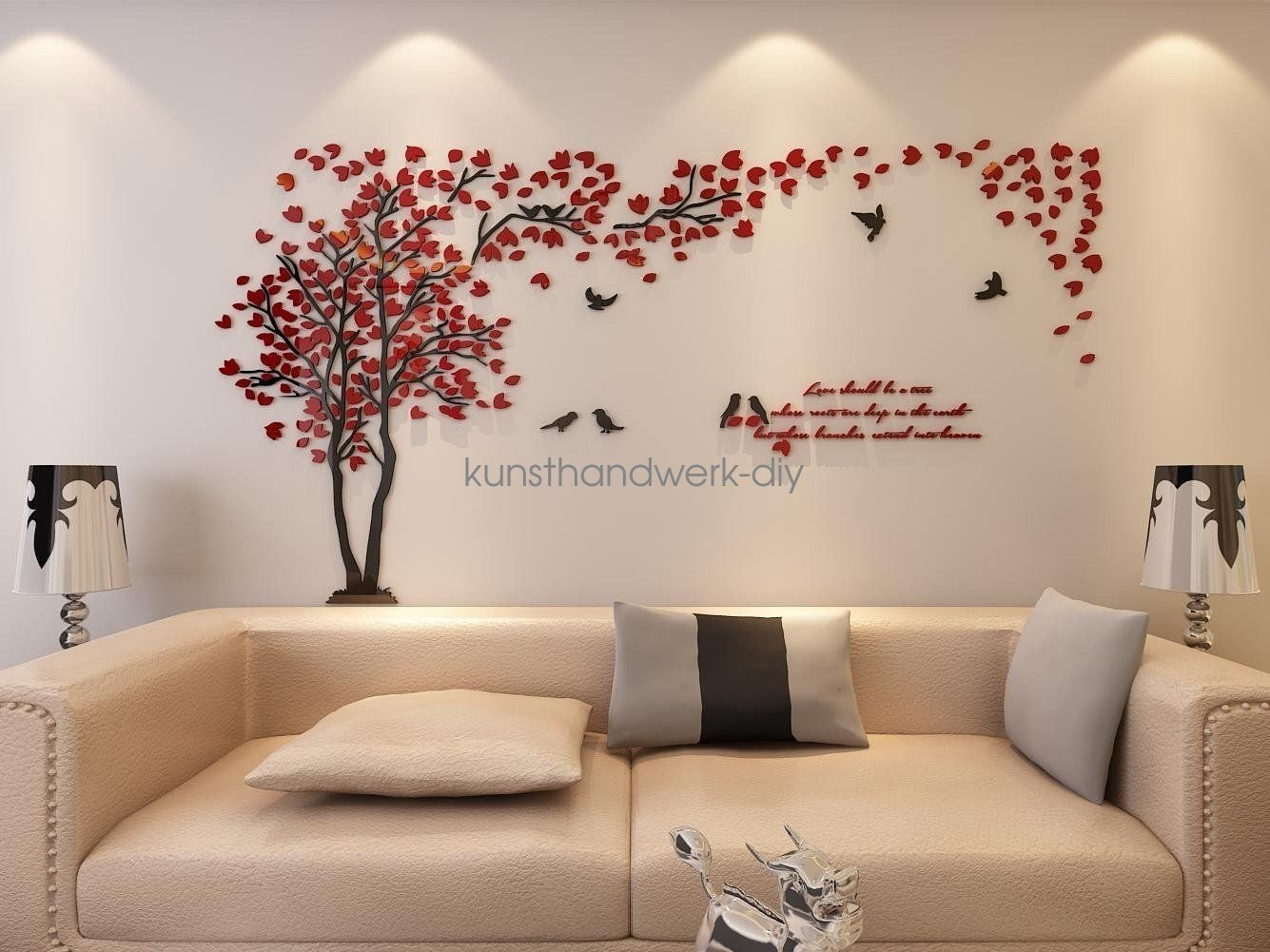 Best Us Couple Tree 3D Wall Stickers Living Room Bedroom Mural With Pictures
