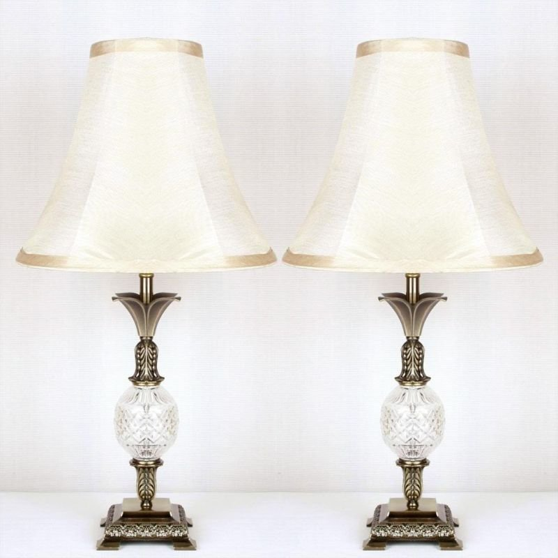 Best 2X Vintage Bedside Table Lamps W Glass Metal Base Buy With Pictures