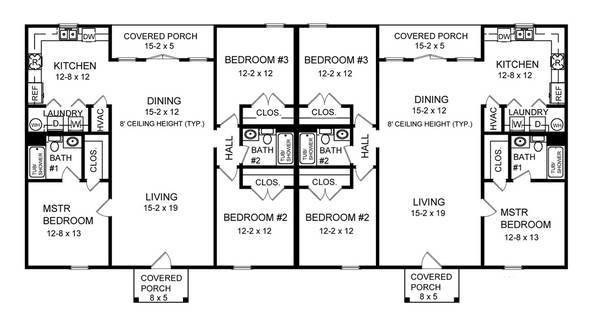 Best Three Bedroom Duplex 7085 3 Bedrooms And 2 5 Baths The House Designers With Pictures