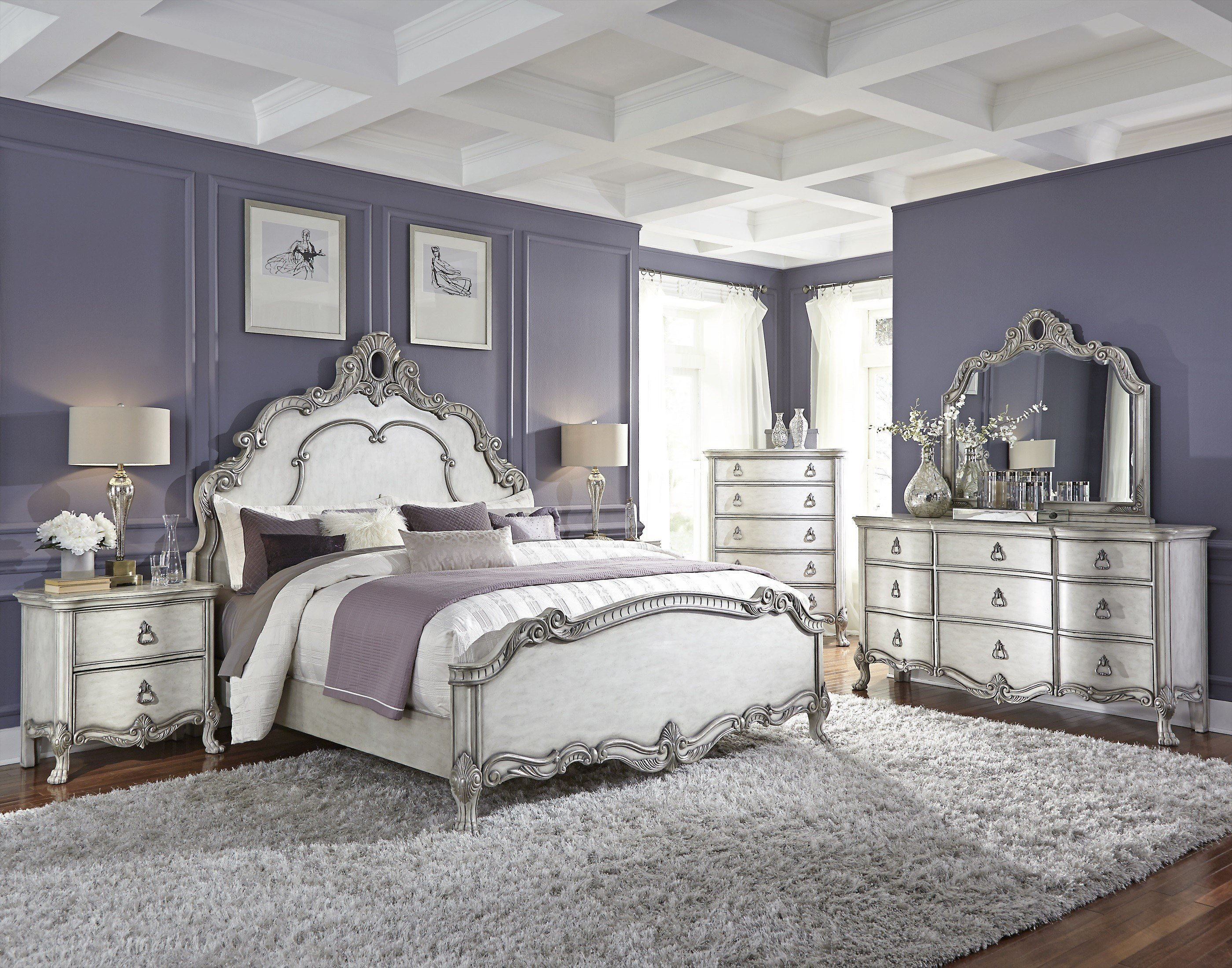 Best Traditional Antique White And Silver Bedroom With Pictures