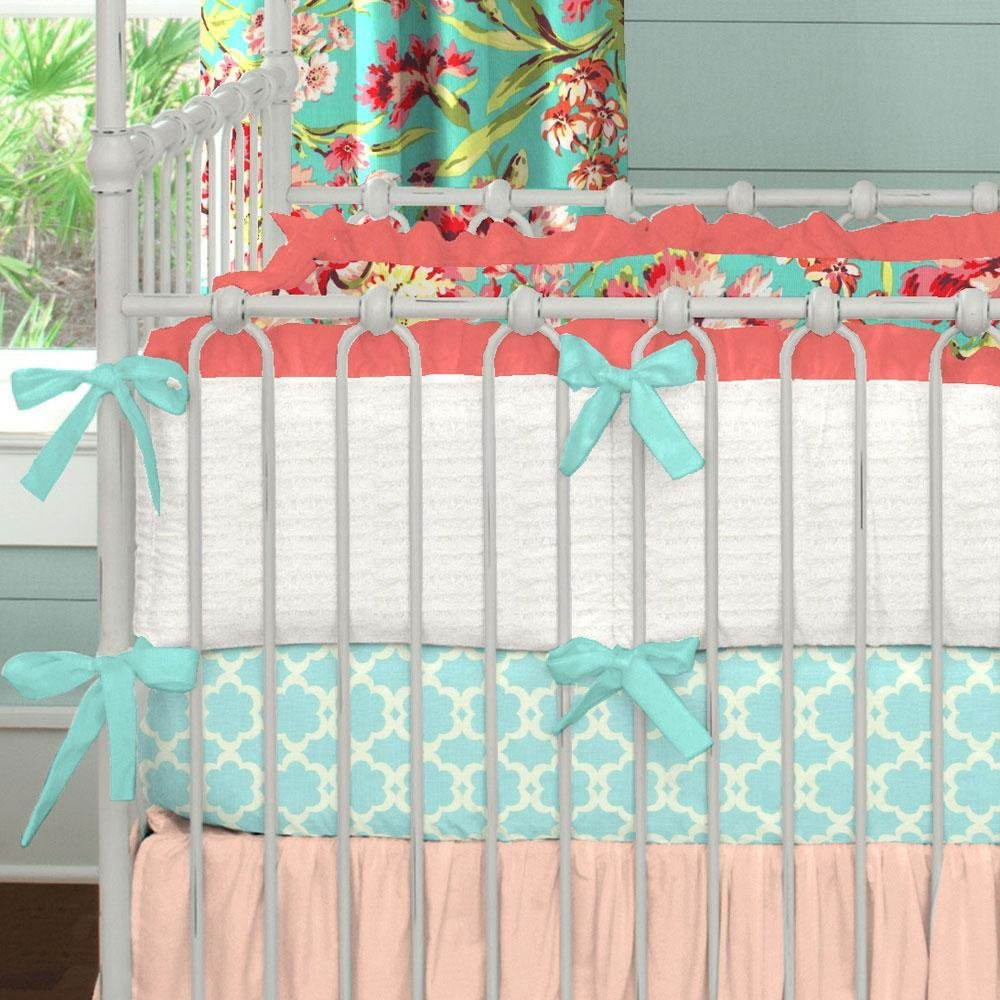 Best Coral And Teal Floral Crib Bedding Girl Baby Bedding With Pictures