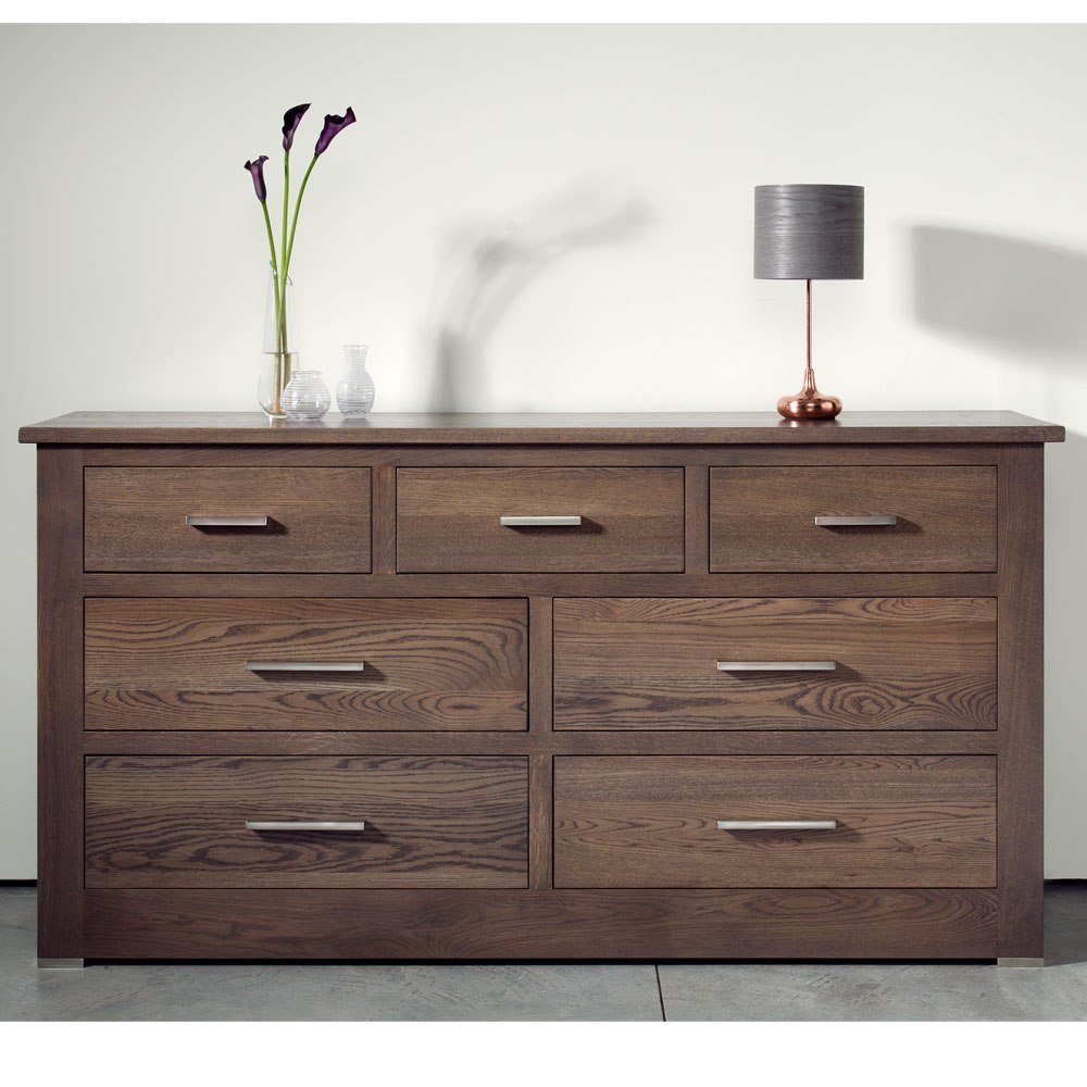 Best Quercus Solid Oak 4 3 Extra Wide Chest Of Drawers Con With Pictures