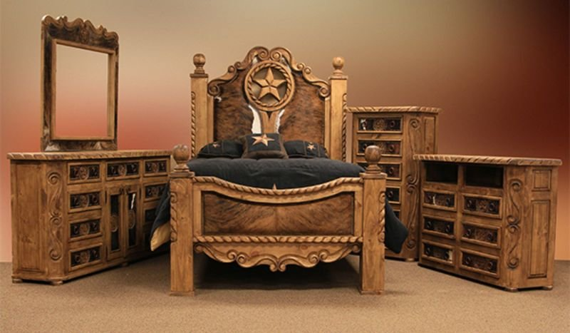 Best Lmt Rope And Star Rustic Bedroom Set With Cowhide With Pictures