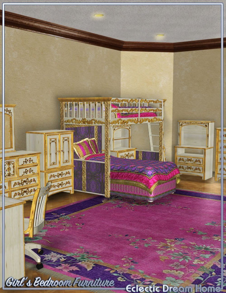 Best Dream Home Eclectic Girls Bedroom Furniture 3D Models With Pictures