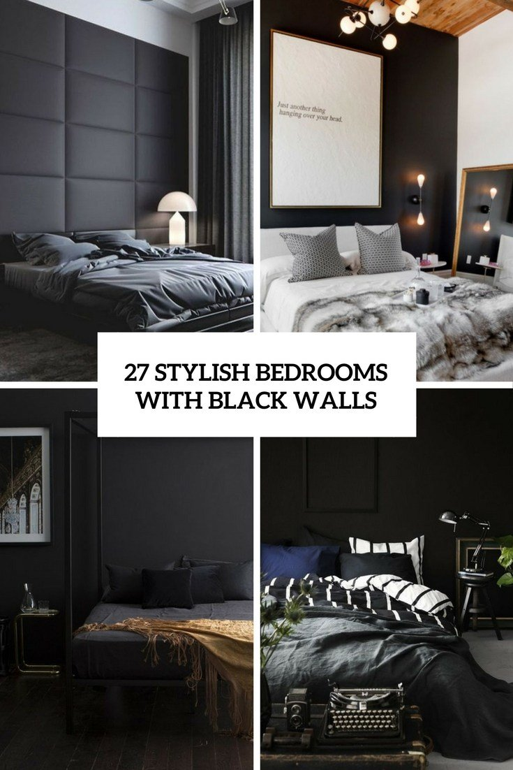 Best 27 Stylish Bedrooms With Black Walls Digsdigs With Pictures
