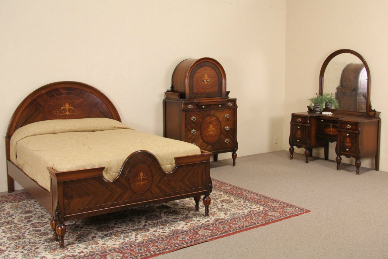 Best Sold Marquetry 1920 S Full Size Antique Bedroom Set 3 With Pictures