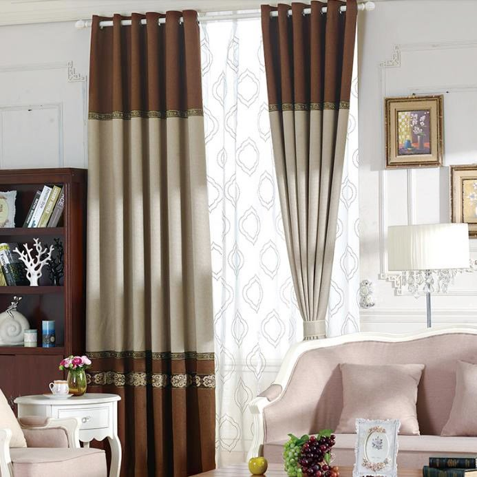 Best Brown And Gray Lace Jacquard Polyester Vintage Color Block With Pictures