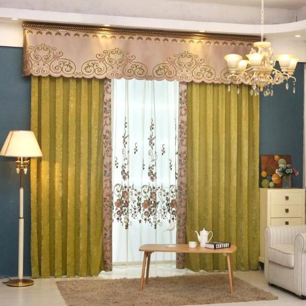 Best Yellow Patterned Embroidery Chenille Contemporary Curtains For Living Room Or Bedroom With Pictures