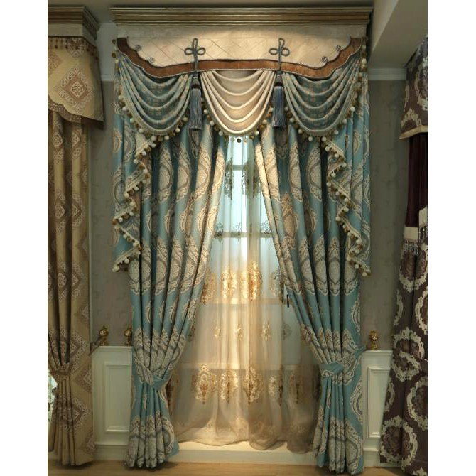 Best Blue Damask Embroidery Chenille Thermal Vintage Curtains With Pictures