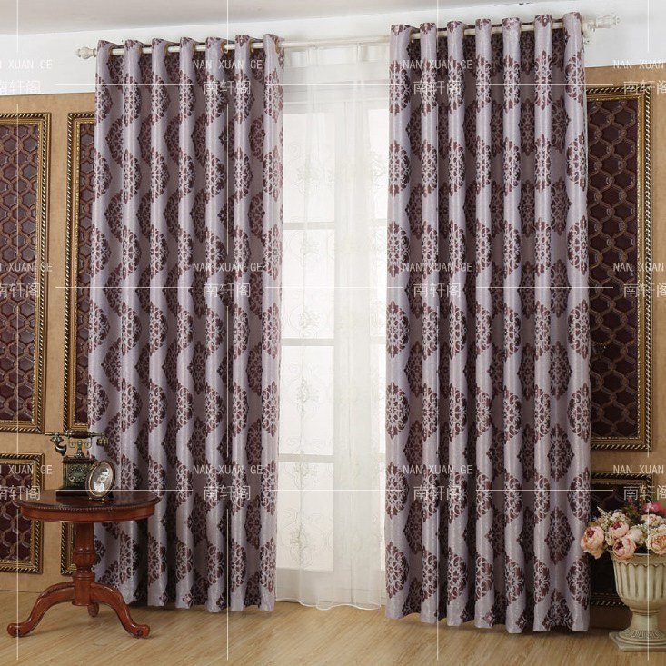 Best Purple Damask Jacquard Polyester Insulated Bedroom Curtains With Pictures