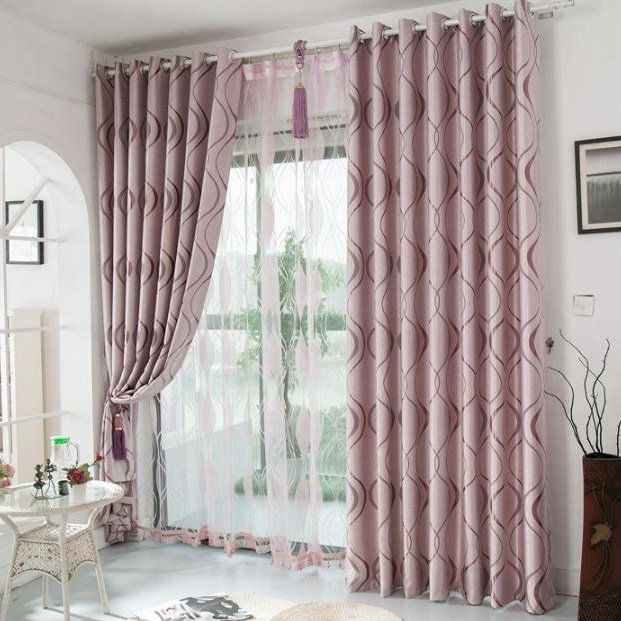 Best Pink Geometric Jacquard Polyester Insulated Bedroom Curtains On Sale With Pictures