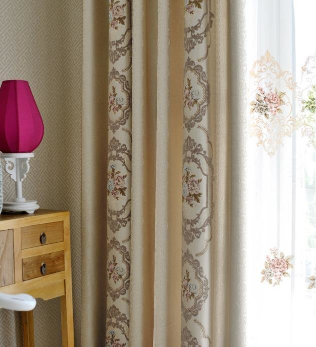 Best Beige Damask Embroidery Chenille Thermal Bedroom Curtains With Pictures