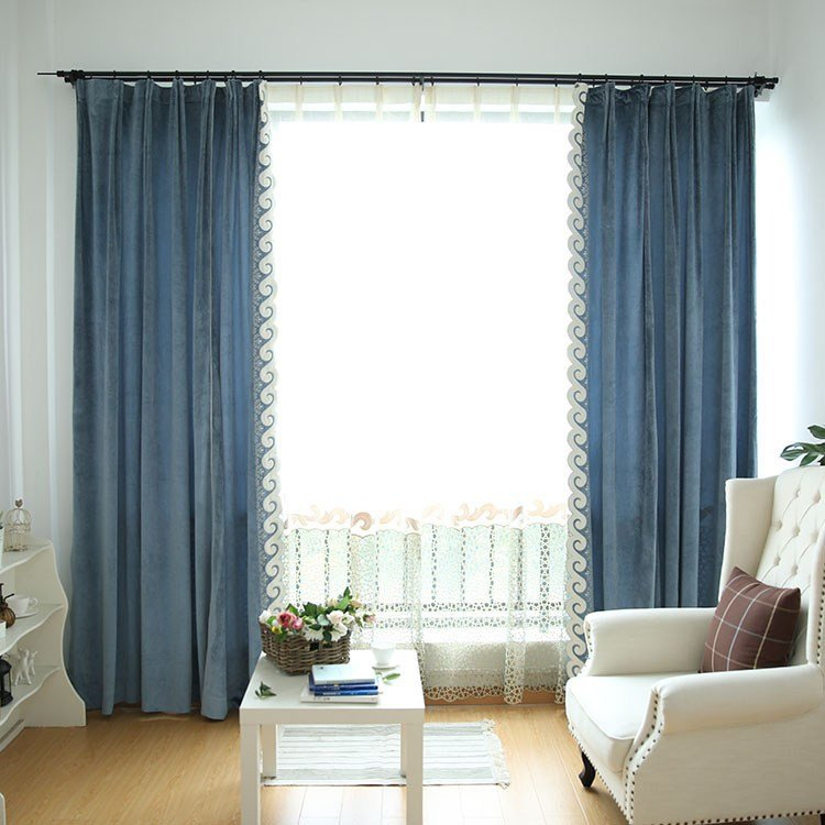 Best Blue Solid Extra Wide Modern Bedroom Curtains With Pictures
