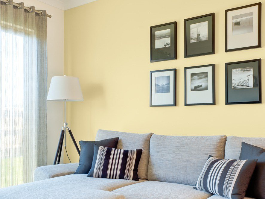 Best Yellow Living Room Feature Wall Inspirations Paint With Pictures