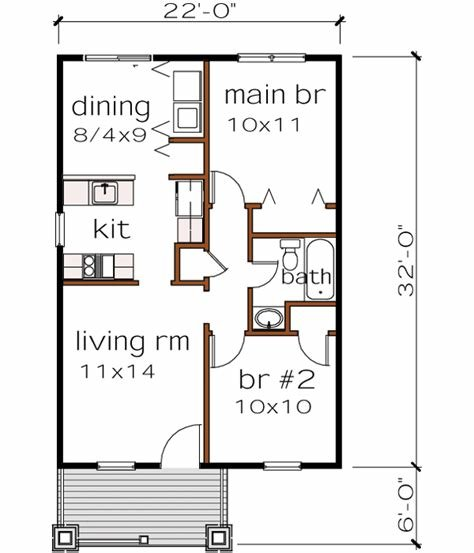 Best Bungalow House Plan 2 Bedrooms 1 Bath 704 Sq Ft Plan 16 101 With Pictures