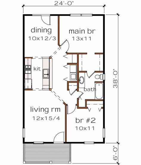 Best Bungalow House Plan 2 Bedrooms 1 Bath 912 Sq Ft Plan 16 110 With Pictures