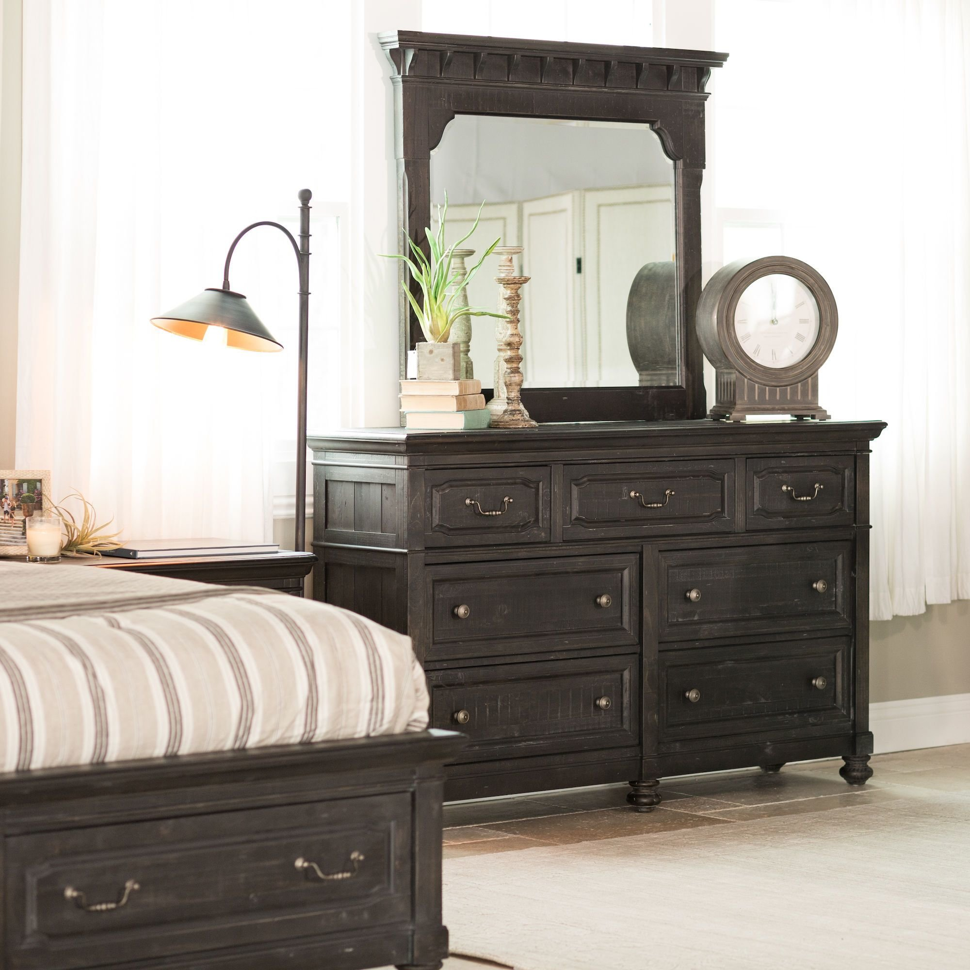 Best Four Piece Distressed Bedroom Set In Black Mathis With Pictures