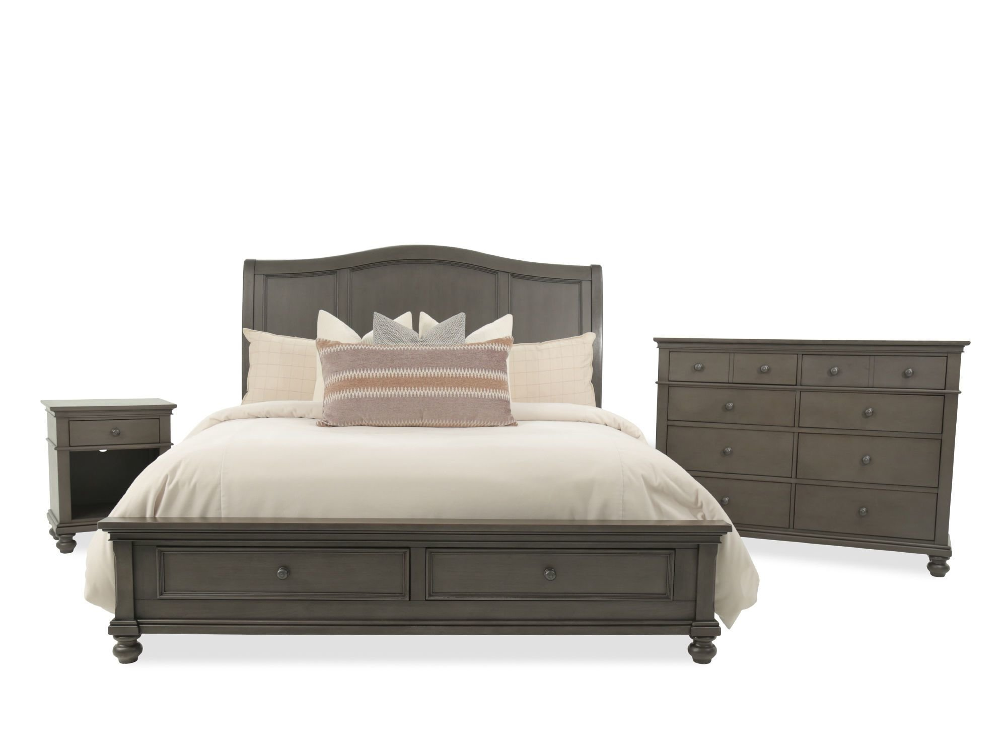 Best Three Piece Transitional Storage Bedroom Set In Peppercorn With Pictures