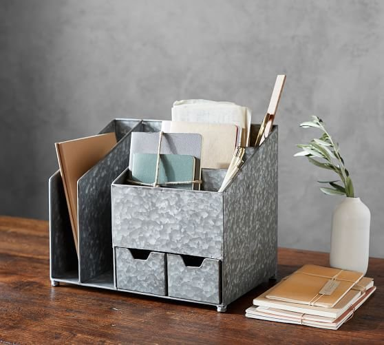 Best Brokers Galvanized Multi Desk Organizer Pottery Barn With Pictures