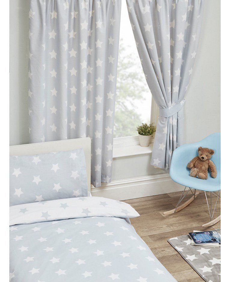 Best Grey And White Stars Lined Curtains Bedroom Curtains With Pictures